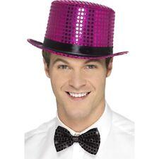 LADIES MEN'S ADULT PURPLE SEQUIN TOP HAT HEN STAG STAGE MAGIC FANCY DRESS FUN