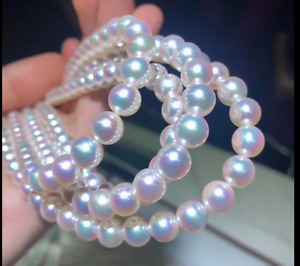 """HUGE 18""""7-8mm natural south sea genuine round white pearl necklace AAA"""