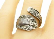 ALVIN 925 Silver - Vintage Ornate Floral Detail Spoon Band Ring Sz 8 - R11876