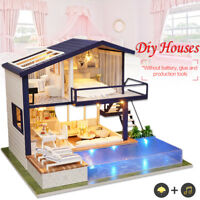 AU DIY LED Apartments Dollhouse Miniature Wooden Furniture Kit Doll House