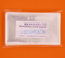 100 Pcs Stamp Sleeves Holders Professional Collection Protection 3.5cmx6.5cm