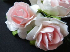 20 WHITE / PINK Mulberry Paper ROSES 33mm WEDDING Craft PARTY Doll DECORATIONS