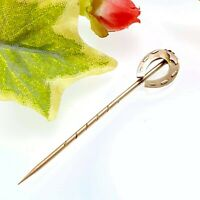 Antique Victorian 9 Ct Gold Lucky Horseshoe Stick Pin Fully Hallmarked 1897
