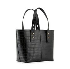 Frame Denim Medium Black Croc Tote Calf Skin Leather New with Tags And Dust Bag