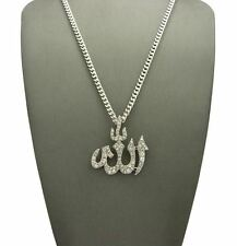 """ICED BLING CZ ALLAH PENDANT & 24"""" BOX, CUBAN, ROPE CHAIN HIP HOP NECKLACE"""
