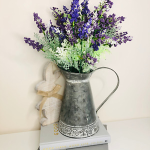 Vintage Rustic Zinc Metal Jug Vase Pitcher - Shabby Chic Country Home