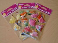 Disney Princess 3 sheets of 3D craft stickers for girls party loot bags fillers