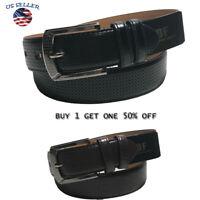Men's Casual Black Dress Leather Belt w/ Buckle New S-XL classes Black Brown7044