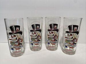 ED HARDY 4 Cocktail Glassware Love Kills Slowly Bar Barware Skull Smoke Dice Hat
