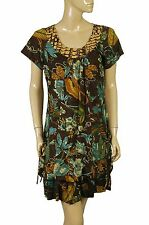 93227 New Savage Culture Floral Printed Brown Cotton Dress Large L 10