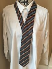 Colours Alexander Julian Men's Necktie Tie Brown Blue Orange Stripes Striped