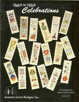QUICK TO STITCH CELEBRATIONS  - CROSS STITCH BOOKMARK LEAFLET