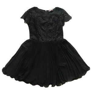 AWEAR Special Occasion Skater Dress Lace Bodice Pleated Skirt Midi Black 10 Z3