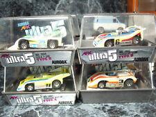 Vintage Aurora AFX slot cars(4) ULTRA 5 BANDED in Case/Cube Porsche LOLA 510K