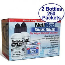 NEILMED Sinus Rinse Kit 2 Bottles 250 Premixed Packets NEW
