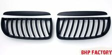 BMW E90 3 SERIES 2005-08 M3 CURVED STYLE MATTE BLACK FRONT KIDNEY GRILLES Z0760