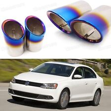 2x Car Exhaust Muffler Tip Tail Pipe End Trim Blue for VW Jetta 2011-2017 #3039