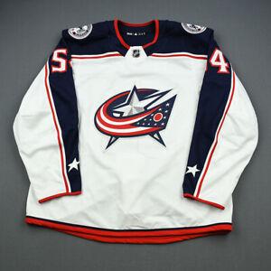 2018-19 Miles Koules Columbus Blue Jackets Game Worn ADIDAS Hockey Jersey NHL