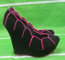 "new ladies Black/Pink 5.5""High Wedge Heel Round Toe Sexy Shoes Size  5.5"