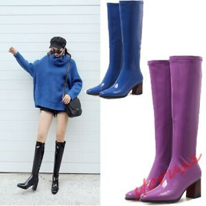 Ladies Pointy Toe Knight Boots Shiny Patent Leather Block Heels Knee high Boots