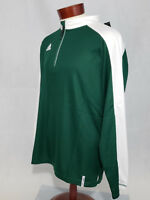 Adidas mens long sleeve 1/4 zip knit pullover climalite athletic top Green NWT
