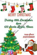 DIY Print Custom Christmas XMAS Santa Claus Holidays Party Invitations