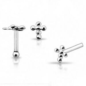 22g 6mm .925 Sterling Silver Cross Nose Stud Ring Pin Bone Piercing N105 New