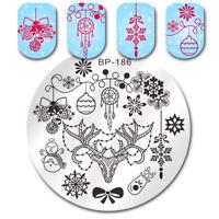 BORN PRETTY Nagel Stempel Schablone Weihnachten Bell Deer Schneemann Nail Plates