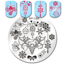 Christmas Bell Deer Snowman Stamping Plates Manicure Image Templates BORN PRETTY