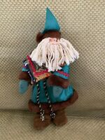 "Vintage Christmas Santa Claus Green Satin & Faux Fur Suit Mop Beard 10"" Doll"