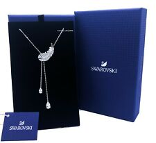 New Authentic SWAROVSKI Rhodium Crystal Pave Feather Y Pendant Necklace 5493397