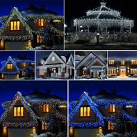 360/480/960 Super Bright LED Snowing Effect Icicle Lights Outdoor Christmas Uk