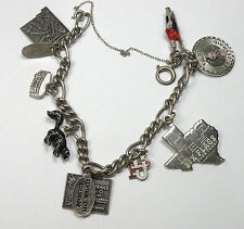 Vintage Sterling Silver Charm Bracelet w/ State & Assorted Charms