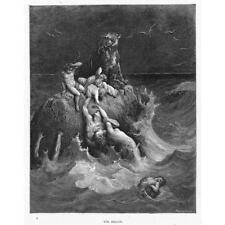 Il DILUVIO Gustave Dore-Bibbia Antico c1880 stampa