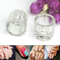 Glass 2x Dappen DishCrystal Octogonal Cup Pot Acrylic Nail Art Liquid-Powder