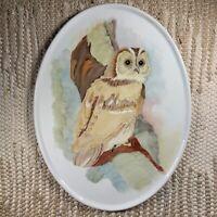 Vintage Gerold-Porzellan Bavaria West Germany 7908 Owl Plaque Porcelain Europe