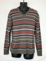 Esprit Men's LS Gray Sweater with Black & Red Stripes! V-Neck Rubber Logo. Sz XL