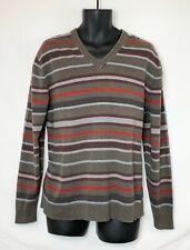 Esprit Men's LS Gray Sweater with Black & Red Stripes! V-Neck Rubber Logo. Sz XL