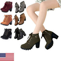 Ladies High Ankle Boots Chunky Block Heel Buckle Platform Lace Up Shoes