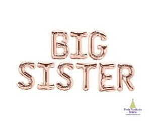 BIG SISTER Letter Balloon Banner - Gold, Rose Gold and Silver Party Decorations
