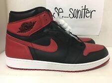 Men's Nike Air Jordan 1 Retro High OG Banned Bred Black Red 555088-001 Size 17
