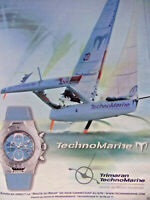 PUBLICITÉ DE PRESSE 2002 TECHNOMARINE TRIMARAN ROUTE DU RHUM