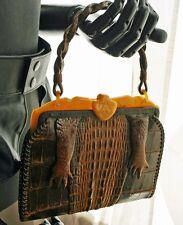 Vintage Alligator Feet Lucite Frame Handbag 40s