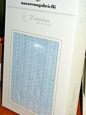 copertina culla NAZARENO GABRIELLI filo cotone 100% colore celeste art.NG497