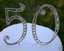 """5"""" Rhinestone Silver Number fifty 50 Bling Cake Topper Birthday Anniversary"""