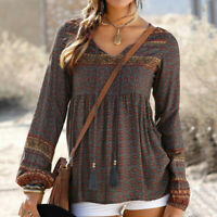Women Vintage Print Casual Long Sleeve T-Shirt V Neck Tops Ladies Blouse Lace Up