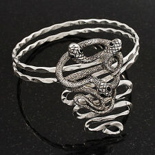 Rhodium Plated 'Snaky Knot' Upper Arm Bracelet Armlet