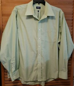 Bass 2XL Mens Long Sleeve Button Front Green & White Striped Shirt Wrinkle Free