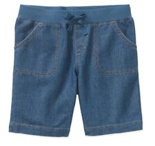Girls Bermuda Ribbed Elastic Waist size Large 10-12 Blue Jean Pull On Shorts New