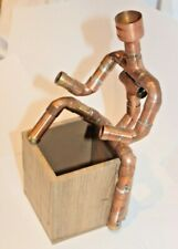 More details for copper pipe figure man ornament with wooden pen box. robot style. metal man